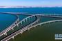 这是青岛胶州湾大桥(6月1日无人机拍摄)。新华社记者 郭绪雷 摄